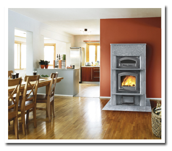 A Tulikivi masonry heater creates a relaxing ambiance.